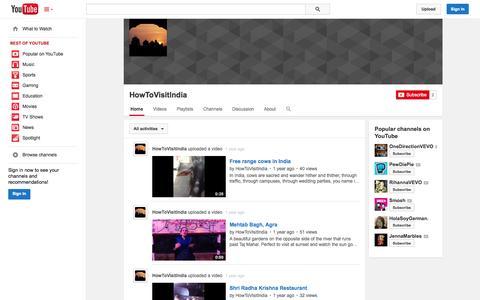 Screenshot of YouTube Page youtube.com - HowToVisitIndia  - YouTube - captured Oct. 23, 2014