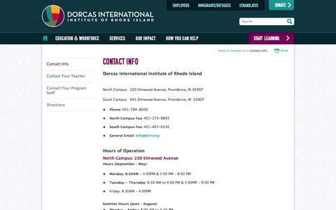 Screenshot of Contact Page Hours Page diiri.org - Contact Info - Contact Us - Dorcas International Institute of Rhode Island - captured Feb. 9, 2016