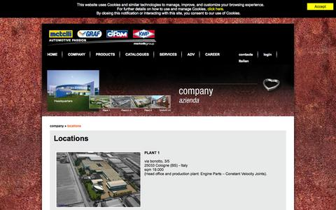 Screenshot of Locations Page metellispa.it - Metelli SpA | The Company has 3 manufacturing plants for a total of 120,000 square meters of which 70,000 covered - captured Oct. 6, 2014