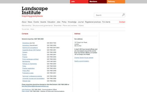 Screenshot of Contact Page landscapeinstitute.org - Contact the Landscape Institute - captured July 11, 2016