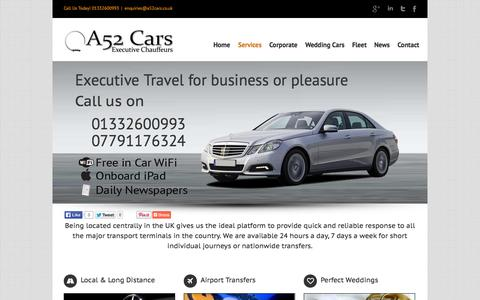 Screenshot of Services Page a52cars.co.uk - A52 Cars A52 Cars Executive Car service and Mercedes airport taxis - captured Sept. 30, 2014