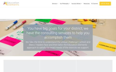 Screenshot of Services Page edelements.com - Education Consulting Firm | K-12 School Districts - captured May 30, 2017