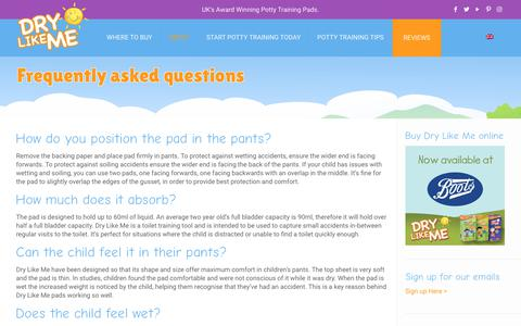 Screenshot of FAQ Page drylikeme.com - FAQs about potty training pads for toddlers - Dry Like Me - captured Aug. 8, 2018