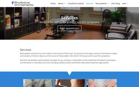 Screenshot of Services Page proactivesf.com - Services - ProActive Chiropractic - captured Sept. 29, 2018