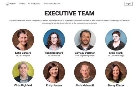 Screenshot of Team Page payscale.com - PayScale Executive Team | PayScale About - captured Oct. 26, 2018
