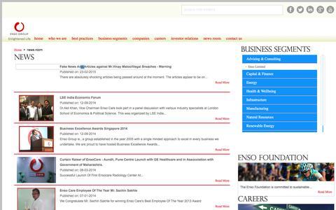 Screenshot of Press Page ensogroup.com - Enso Group - News - captured July 19, 2018