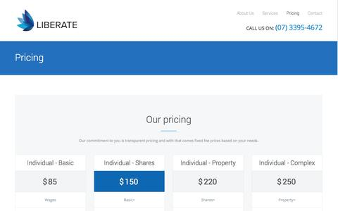 Screenshot of Pricing Page liberate.com.au - Pricing | Carindale Tax Accountants | Liberate | Affordable - captured Oct. 1, 2014