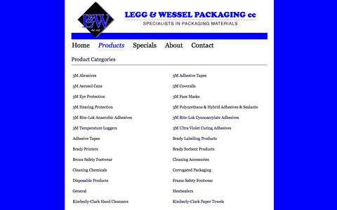 Screenshot of Products Page landw.co.za - Legg & Wessel Packaging - captured Oct. 2, 2014