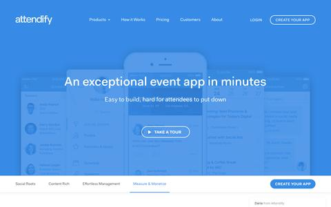 Screenshot of attendify.com - Build an Exceptional Event App in Minutes | Attendify - captured Dec. 9, 2016