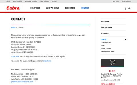 Screenshot of Contact Page sabrehospitality.com - Online Reservation Systems | Sabre Hospitality - Contact Us | Hotel Distribution Management - captured June 16, 2016