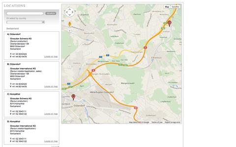Screenshot of Locations Page givaudan.com - Givaudan Locations - captured Sept. 24, 2014