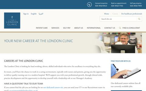 Screenshot of Jobs Page thelondonclinic.co.uk - Working for us | The London Clinic - captured Sept. 21, 2018