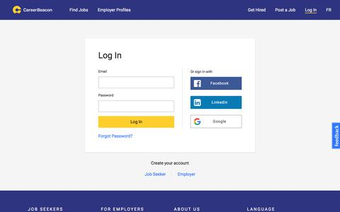 Screenshot of Login Page careerbeacon.com - Log in   careerbeacon.com - captured July 16, 2018