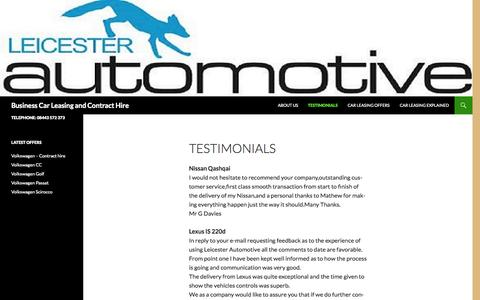 Screenshot of Testimonials Page leicestercontracthire.co.uk - Testimonials - Business Car Leasing and Contract Hire - captured Oct. 8, 2014