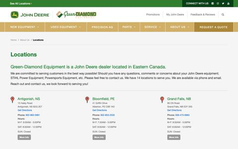 Screenshot of Locations Page green-diamond.ca - Locations - Green Diamond Equipment - captured Sept. 30, 2018