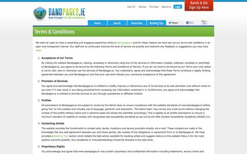 Screenshot of Terms Page bandpages.ie - Terms - captured Oct. 5, 2014