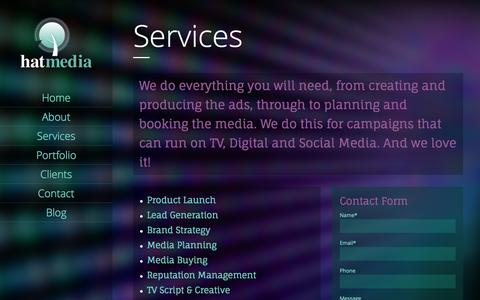 Screenshot of Services Page hatmedia.com.au - Services | Hat Media - captured Oct. 2, 2014