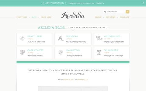 Screenshot of Blog aeolidia.com - Aeolidia Blog: your creative business toolbox - captured Jan. 31, 2017
