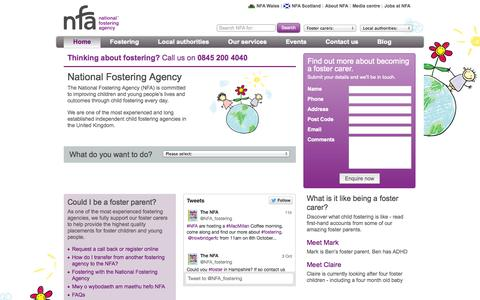 Screenshot of Home Page nfa.co.uk - NFA: Fostering - Child Fostering Agencies | National Fostering Agency - captured Oct. 6, 2014
