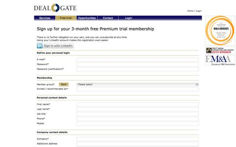 Screenshot of Trial Page dealgate.com - DEALGATE | The global platform for M&A professionals - captured Oct. 29, 2014