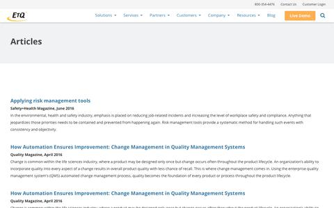 Articles on Quality Management Industry by EtQ