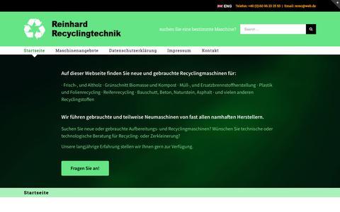 Screenshot of Home Page recyclingmaschinen.com - Recyclingmaschinen – Wir nehmen Ihre Maschinen in Zahlung oder führen eine Bewertung für Sie durch.  Sie suchen eine Möglichkeit Ihre Maschinen zu verkaufen? Dann nutzen Sie unsere Seite. - captured May 6, 2018