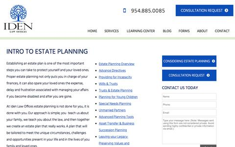Screenshot of Services Page idenlaw.com - Miramar Weston FL Intro to Estate Planning Lawyer Attorney Law Firm - captured Oct. 14, 2017