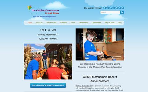 Screenshot of Home Page cmoaklawn.org - Children's Museum in Oak Lawn - Home - captured Sept. 20, 2015