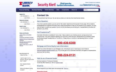 Screenshot of Contact Page libertysavingsbank.com - Liberty Savings Bank - Contact Us - captured May 10, 2017