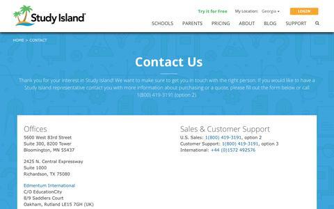 Screenshot of Contact Page studyisland.com - Contact Us   Study Island - captured Nov. 15, 2019