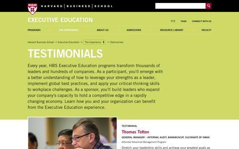 Screenshot of Testimonials Page hbs.edu - Testimonials - Executive Education - Harvard Business School - captured Oct. 2, 2014