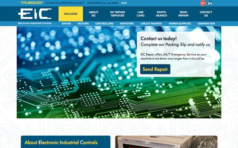 Screenshot of Home Page Contact Page Maps & Directions Page eicrepair.com - Industrial Electronics Repair | Drive Repair | Servo Drive Repair | EIC Repair - captured July 8, 2018