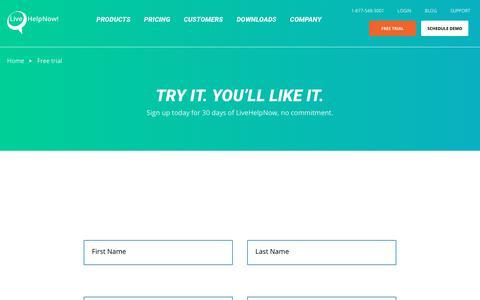 Screenshot of Trial Page livehelpnow.net - LiveHelpNow 30 day free trial signup - captured Oct. 30, 2017