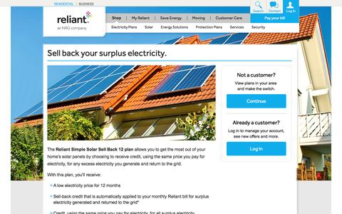 Reliant Simple Solar Sell Back 12 Plan | Reliant Energy