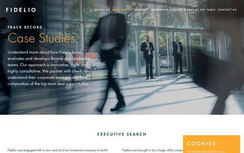 Screenshot of Case Studies Page fideliopartners.com - Case Studies - Fidelio - captured Aug. 13, 2018