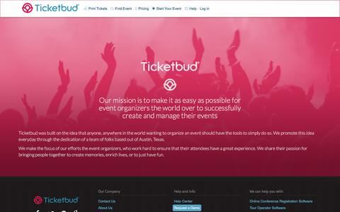 Screenshot of About Page ticketbud.com - Sell Tickets Online: Event Management and Ticketing | Ticketbud | About - captured April 20, 2016