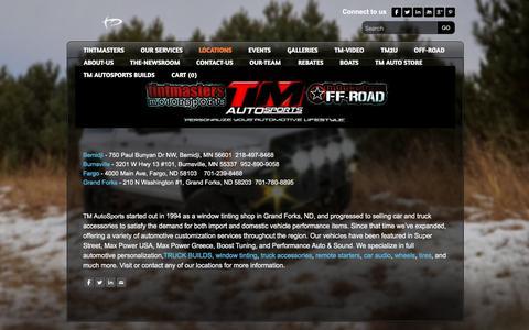 Screenshot of Locations Page tintmastersmotorsports.com - Tintmasters Motorsports 6 locations.  Apple Valley, MN, Burnsville, MN, Bemidji, MN, Fargo, ND, Grand Forks, ND, Maplewood, MN.   - Tintmasters Motorsports - captured Sept. 21, 2018