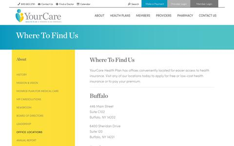 Screenshot of Locations Page yourcarehealthplan.com - Office Locations | YourCare Health Plan - NY - captured Feb. 11, 2020