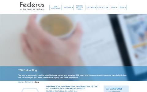 Screenshot of Blog tdbfusion.com - TDB Fusion Blog and News | Data Centre Blog | DCIM Blog - captured Nov. 7, 2016