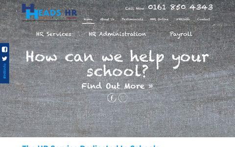 Screenshot of Home Page headshr.co.uk - The HR Service Dedicated to Schools - Heads HR - captured Jan. 27, 2016
