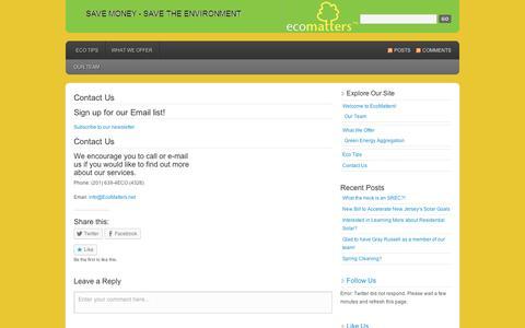 Screenshot of Contact Page wordpress.com - Contact Us | EcoMatters - captured Sept. 12, 2014