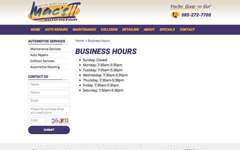 Screenshot of Hours Page macs2.com - Business Hours | Mac's II Auto Repair - captured July 2, 2018