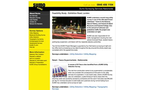 Screenshot of Case Studies Page sumoservices.com - Sumo Surveying Services - Topographic Surveying and Utility Mapping - captured Oct. 7, 2014