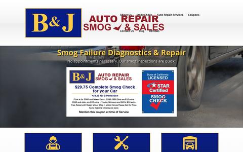 Screenshot of Home Page bnjautorepair.com - Smog Check & Auto Repairs - captured Oct. 18, 2016