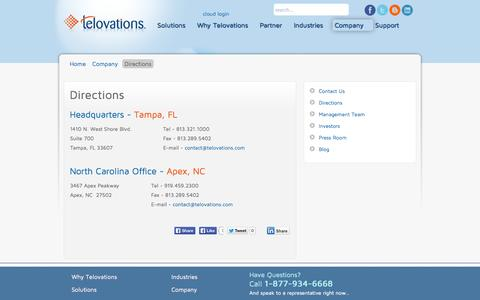 Screenshot of Maps & Directions Page featuretel.com - Telovations, Inc. - Directions - captured Sept. 30, 2014