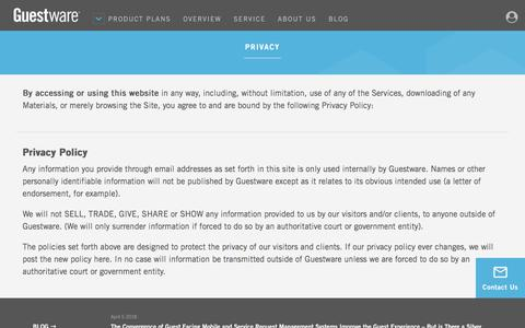 Screenshot of Privacy Page guestware.com - Privacy Policy - Guestware - captured April 22, 2018