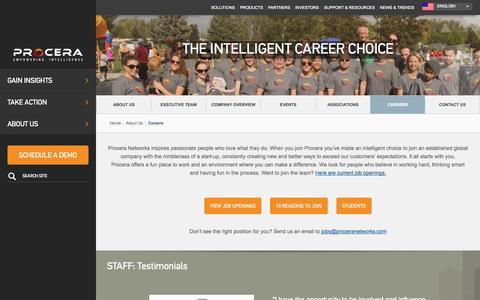 Screenshot of Jobs Page proceranetworks.com - Careers | Procera Networks: Empowering Intelligence - captured Sept. 17, 2014