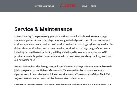 Screenshot of About Page loktec.co.uk - Service & Maintenance- Loktec Security Group ATM PROTECTION. ATM SECURITY. SAFES. STRONGROOMS.LOCKSMITHS. ACCESS CONTROL - captured Oct. 11, 2018