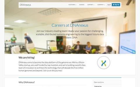 Screenshot of Jobs Page dnanexus.com - DNAnexus - Careers - captured Sept. 15, 2014