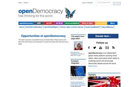 Screenshot of Jobs Page opendemocracy.net - Opportunities at openDemocracy   openDemocracy - captured Nov. 7, 2018